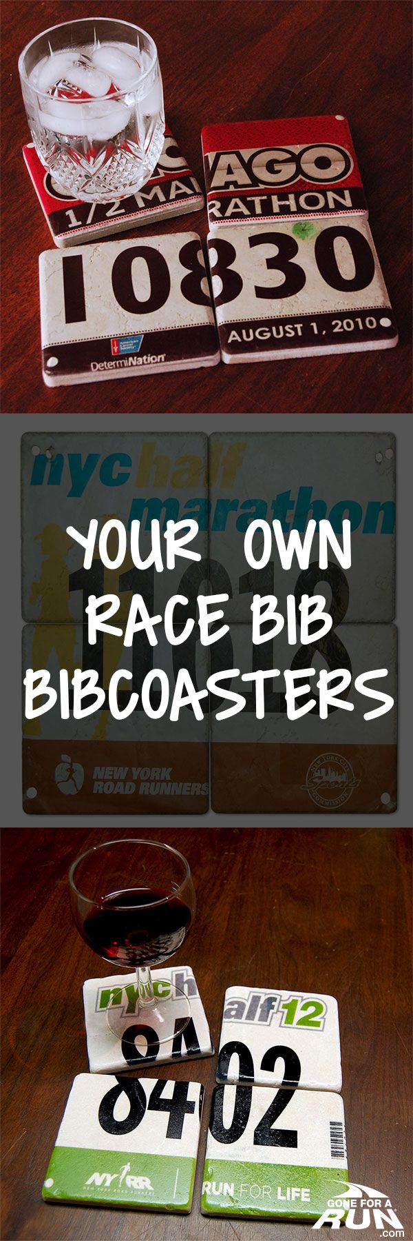 "Your race number #bib is reproduced on a set of four 4X4"" stone coasters. This…"