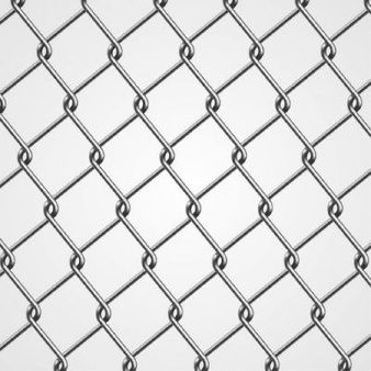 Metallic chain fence with geometric squares