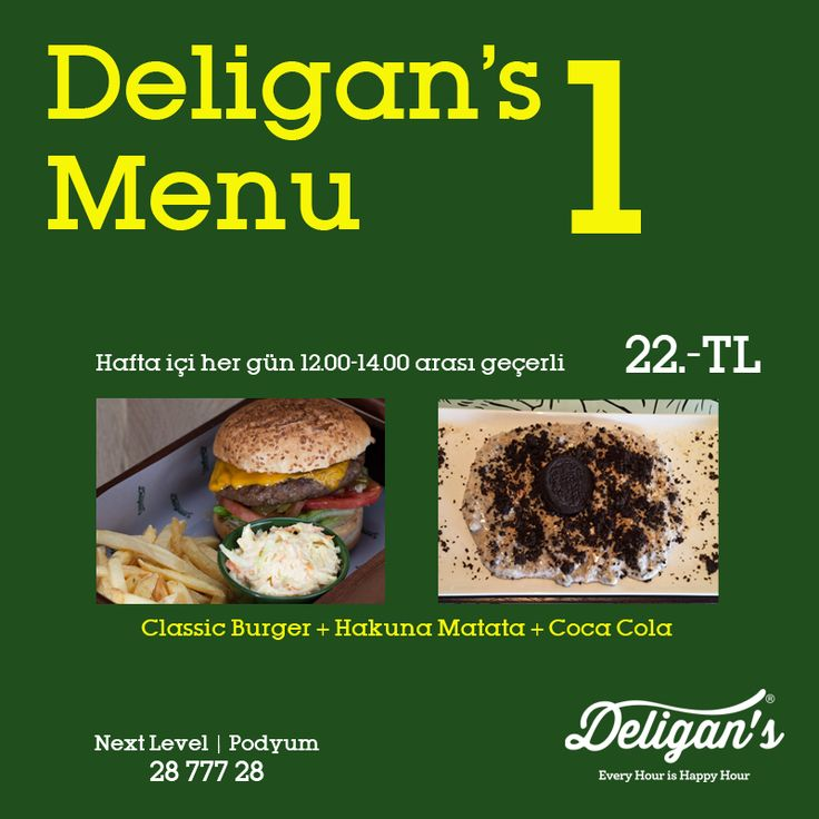 Haftanın başlangıç menüsü.. #Deligans #Deliganspub #pub #NextLevel #podyum #everyhourishappyhour #bar #restaurant #growsome #drink #foodie #cookingtogether #instagood #instamood #instadaily #drinkup #foodie #afterwork #freedom #befree #sports #todayistheday #lezzet #keyif #enjoy #sportsbar #lunchtime #hamburger #hakunamata