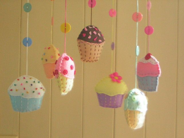 Cupcake mobile with felt cupcakes.
