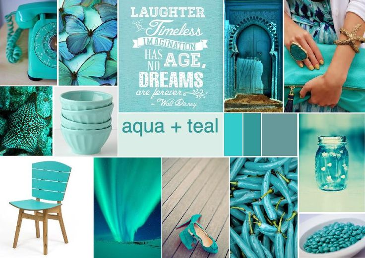 Aqua and teal inspired mood board #aqua #teal #moodboard ...