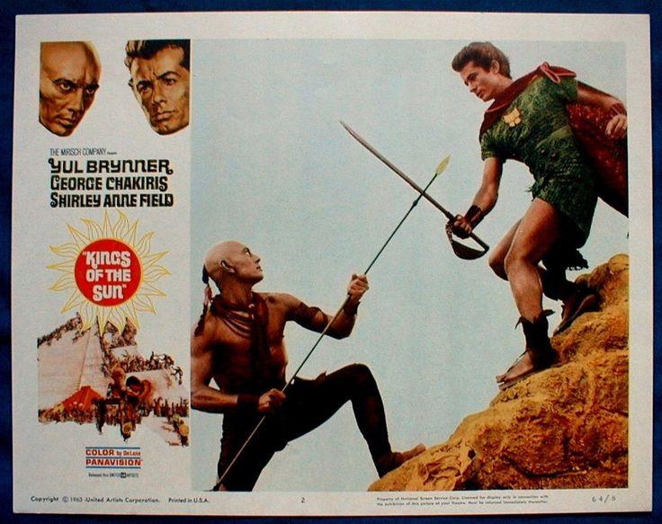 KINGS OF THE SUN LOBBY CARD #2 Yul Brynner George Chakiris as Aztecs 1964
