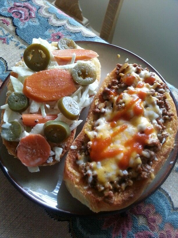 spicy beef with cheddar cheese and dressed cabbage with pickled ...
