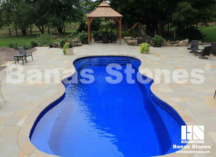Banas Stones - Kota Brown pavers with Banas Bronte Pool Coping