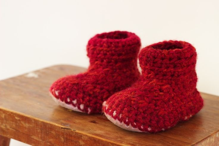 Crochet Slipper Boots with a Sheepskin Sole. To fit a one year old 11 - 13cm length.