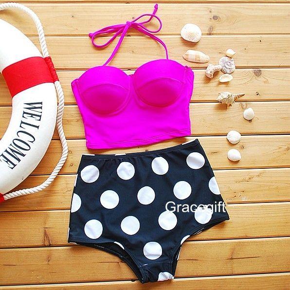 Pink High Waisted Bikini, Women's Bathing Suit