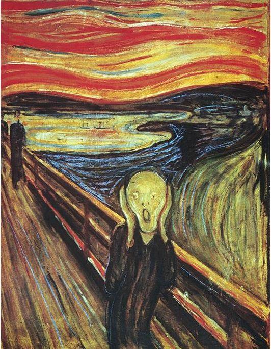 """""""El grito"""" Edvard Munch  Técnica: óleo, temple y pastel sobre cartón Estilo: expresionismo La versión más famosa fue completada en 1893."""