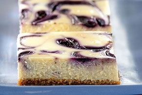 You can use fresh or frozen blueberries to make these creamy swirled cheesecake bars. Either way, you should prepare for compliments!
