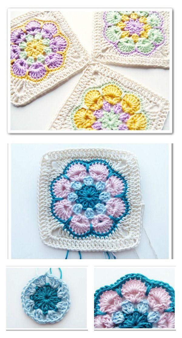 Crochet Spike Stitch African Flower Square Free Pattern