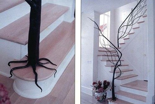 tree stair banisterStairs Railings, Staircase Design, Trees Branches, Cool Ideas, Tree Branches, Wrought Iron, Staircases Railings, Stairs Design, Stairs Cases
