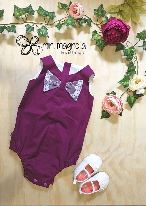 Berry Cute Bow Playsuit for baby girls lace by MiniMagnoliaStore