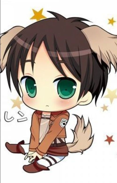 anime kawaii wolf: Chibi Wolf Eren Is So Cute