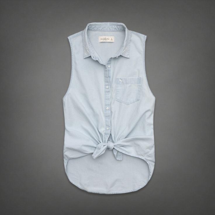 Womens Carissa Denim Shirt | Womens Fashion Tops | Abercrombie.com