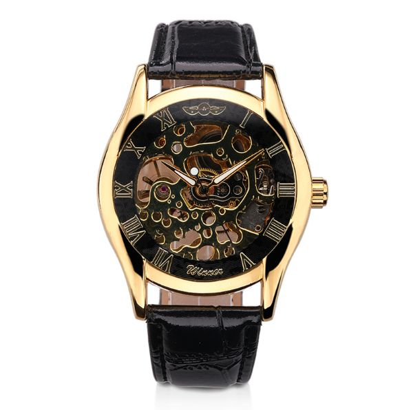 SLICK NATION Automatic Mechanical Skeleton Wristwatch (Black Dial)
