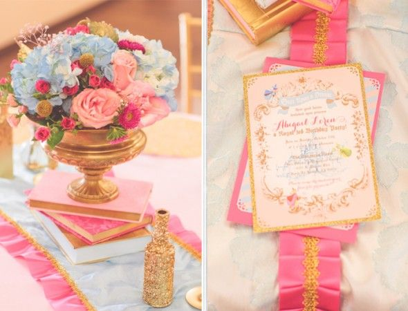 Sleeping Beauty Inspired Party by Minted and Vintage  Invitation by Itsy Belle Studio Floral centerpiece by Love Anne Joy Design + Events