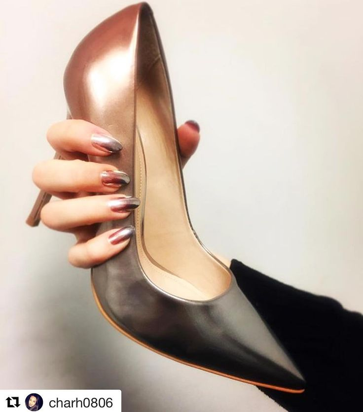 CHEZ PAINTS NAILS (@chezpaintsnails) on Instagram:   This streamlined court stands tall on a slim 120mm heel, graduating from bronze to silver at the toe. Add a splash of seasonal colour to evening looks with the on-point ombre styling of Alice from Carvela Kurt Geiger.
