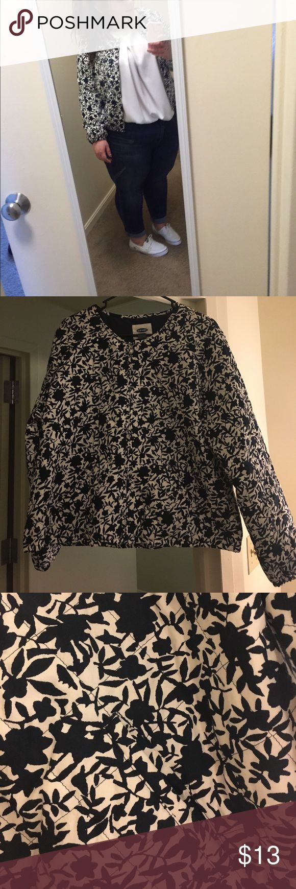 Old Navy Bomber Jacket - XL Blue and white floral print bomber jacket Old Navy Jackets & Coats