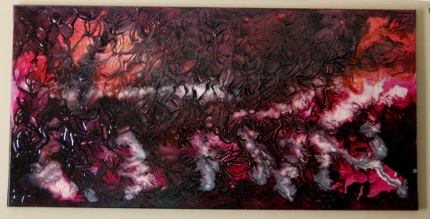 Painting by Don Henderson  Acrylic paint, ink and varnish on canvas 100cms x 50cms