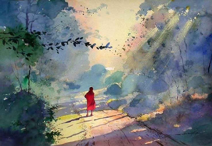 Watercolor art by Myoe Win Aung