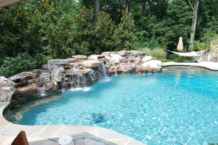 Creative Swimming Pool Designs With Stone Swimming Pool Waterfall ...