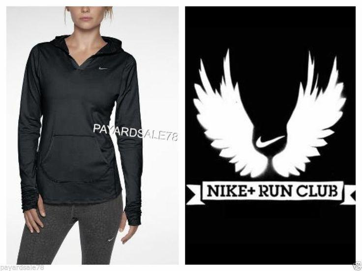 Ladies Xs Nike Element Hoodie Running Black Thumb Holes -5244