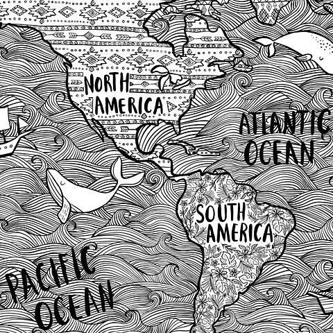 A close up of another color- in mural that I illustrated for @darice_crafts! If you can believe it I did this on my iPad using Adobe Draw! . . .  #illustration #illo #handdrawn #instaart #art #artoflicensing  #artist #artwork #calledtobecreative  #design #graphicdesign #illustratorsofinstagram #creativelifehappylife #createeveryday #handdrawn #lettering #handlettering #whales #map #illustratedmap #theydrawandtravel #coloringpages #adultcoloringbook #graphicdesign #doodling #adobedraw…