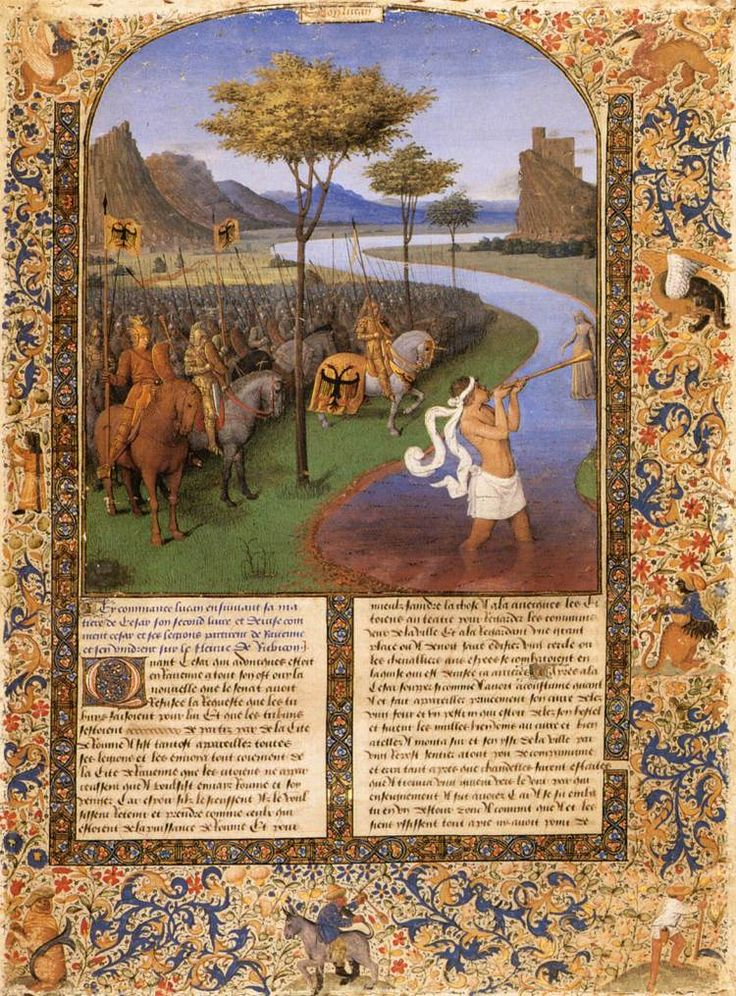 Jean Fouquet, Caesar Crossing the Rubicon, date unknown, illumination on vellum, 450 x 325 mm (Musée du Louvre, Paris) - These miniatures are amazingly well done considering they are not bigger than a letter size piece of paper.