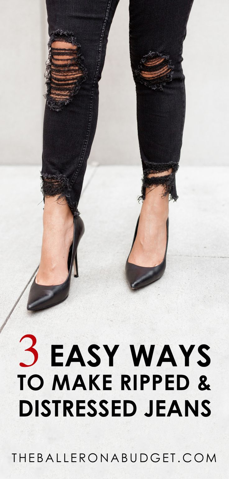 Want that distressed designer denim look without the price tag? Here are 3 incredibly easy DIY projects to create your own distressed jeans! From frayed hems to ripped knees, you can turn all of your jeans into designer ripped jeans within minutes. - www.