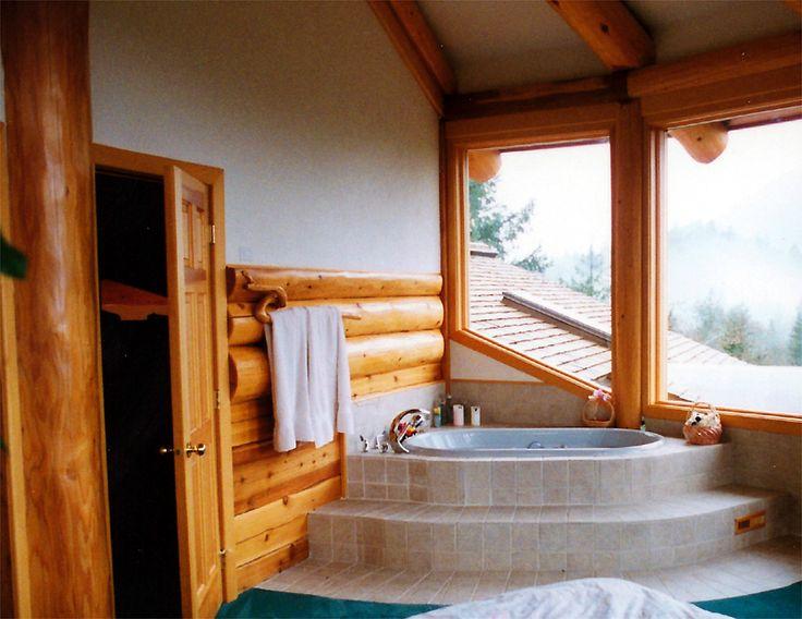 Log Cabin Bathroom Ideas | Bathtub In Master Bedroom, British Columbia
