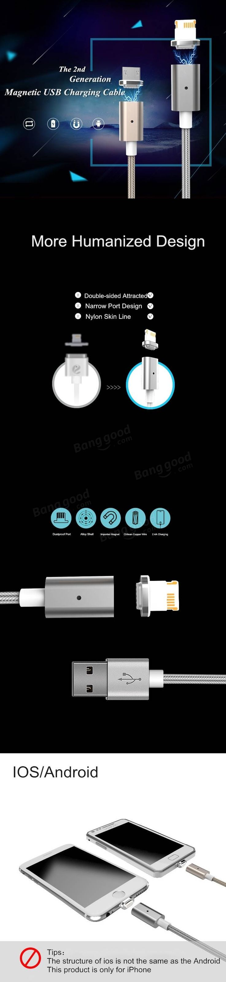 Magnetic 2nd Gen USB Charging Data Transmission Cable For iPhone 5 5S 6 6S Plus Mini Air Sale - Banggood.com