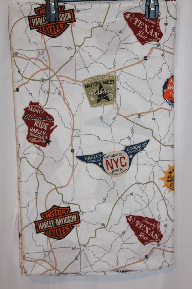 Harley Davidson USA Road Map Full Size Flat Sheet  Cotton Rich Blend Harley Logo #HarleyDavidson