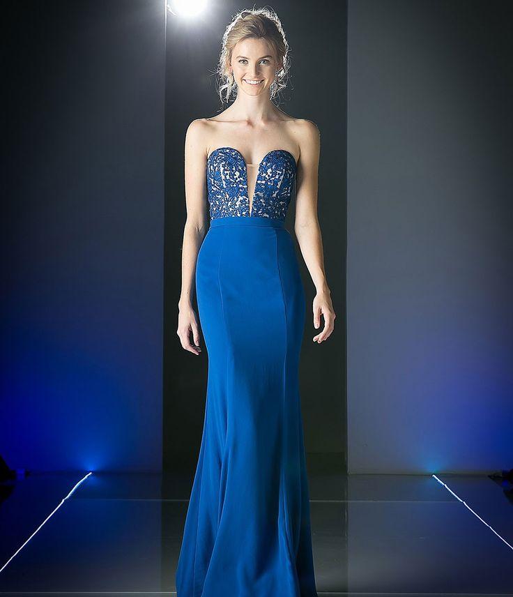Royal Blue Strapless Sweetheart Long Dress