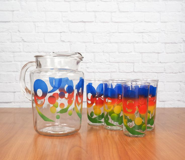 Colorful Rainbow Calypso Pitcher and Glasses Drinking Set   Summer Patio Party Outdoor Entertaining by FireflyVintageHome on Etsy