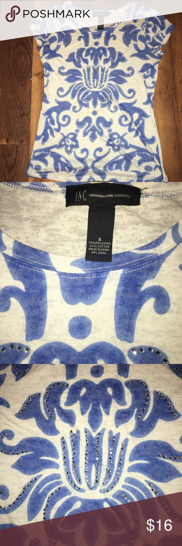 I.N.C. burn out Tee with rhinestone accents. I.N.C. Burnout Tee with fluer de lis and rhinestone accents. Gorgeous tee, bought for my middle daughter but never worn. Thinner material with a feminine design. Great to layer a Cami underneath. In excellent NWOT condition.                                                                      📦📫  Same or next day shipping from Tennessee. (Weekends and holidays excluded) ☀️ Items  $10 and under firm unless bundled. INC International Concepts Tops…