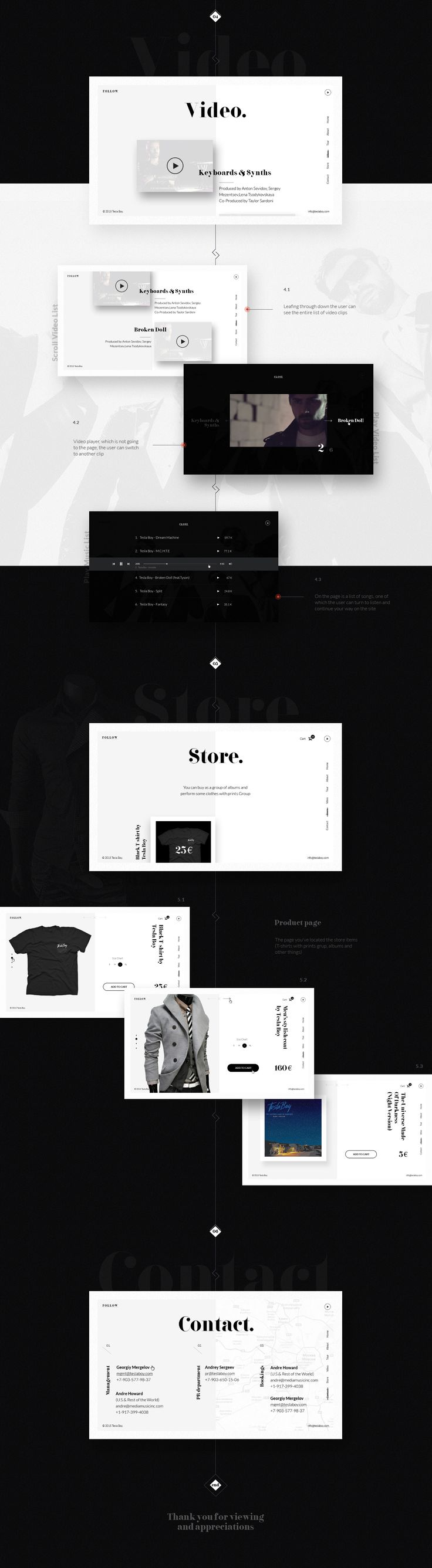 Tesla Boy - web site concept on Behance