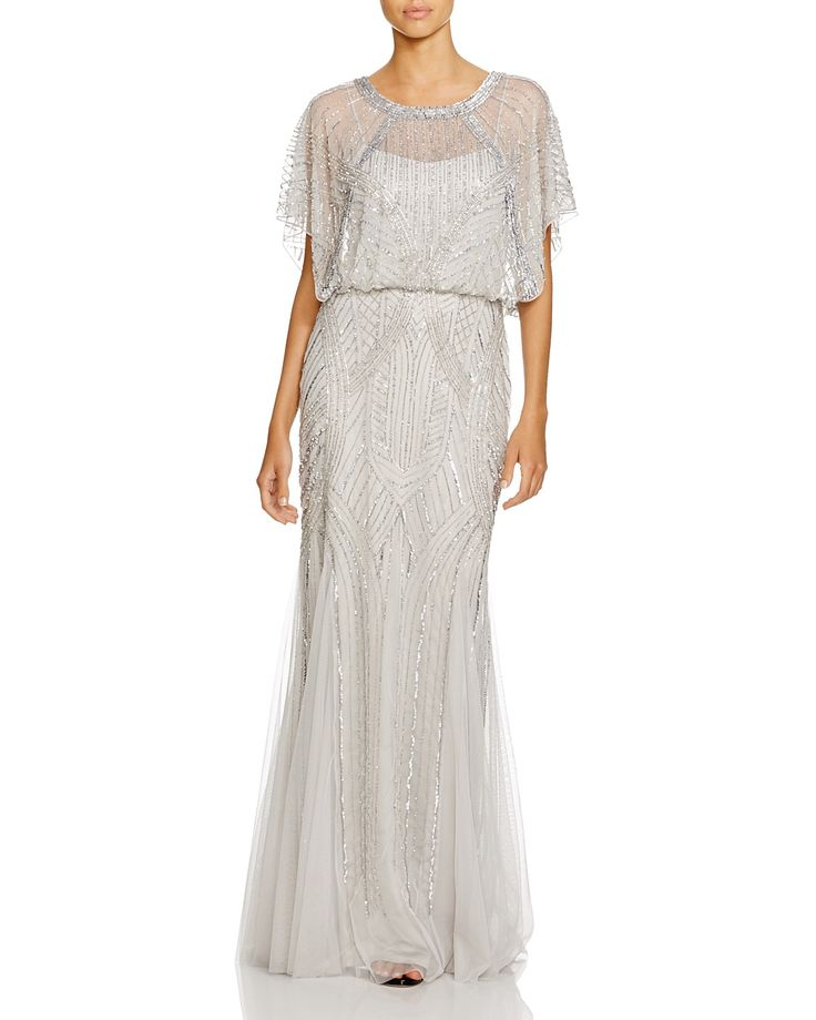 Aidan Mattox Flutter Sleeve Embellished Gown   Bloomingdale's