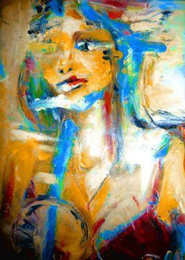 """Saatchi Art Artist Malwina Palińska; Painting, """"Indian Girl"""" #art"""