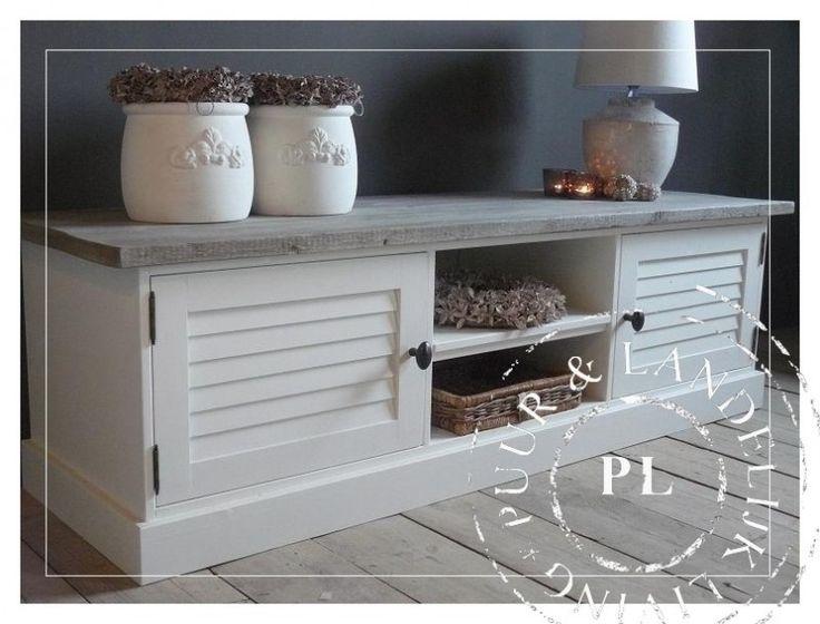 Maatwerk! tv meubel/ flatscreenmeubel louvre / old weathered /riviera white | 》Landelijk tv meubel / flatscreenmeubel / flatscreenkast | Puur & Landelijk Living