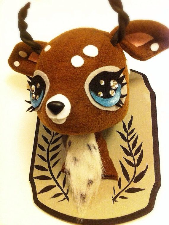 Chocolate Forest Stag Plush Taxidermy by stitchofwhimsy on Etsy
