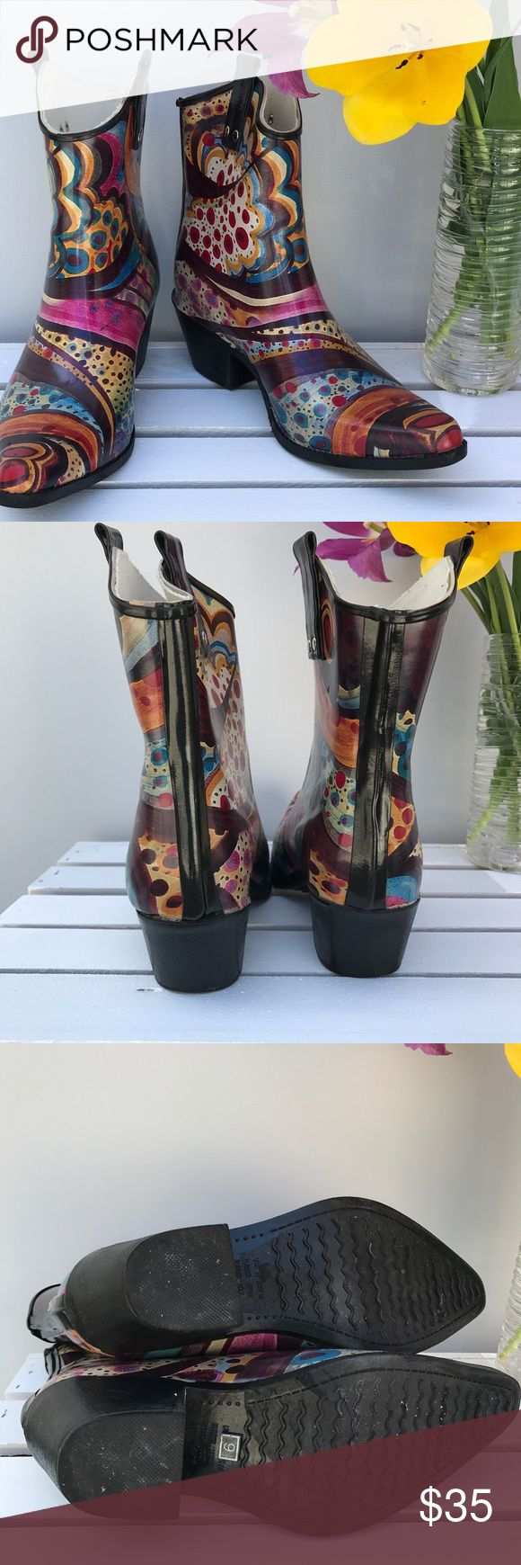 ☔️ Nomad cowboy rain boots ☔️ April showers bring you adorable Nomad multi-colored rubber rainboots with the brand's trademark cowboy styling. This is a short boot, size 9. Excellent used condition, very comfy. Worn very little as evidenced by the detachable liners. The style may be called Yippy Monet. Perfect description! Nomad Shoes Winter & Rain Boots
