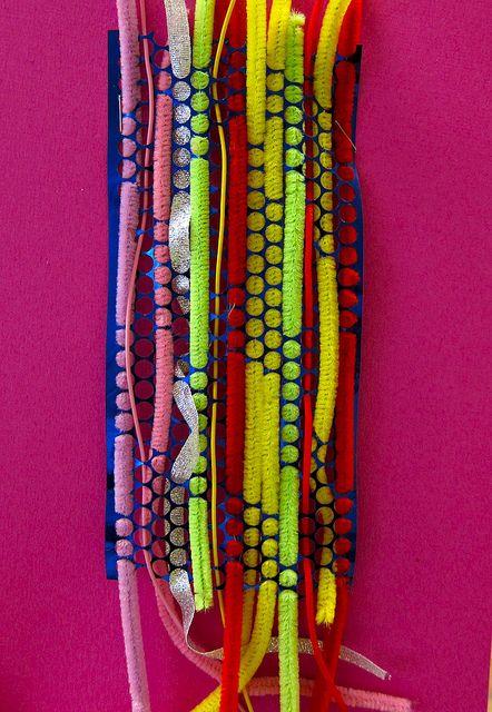 kindergarten weaving- finally something interesting using this sequin waste strip stuff