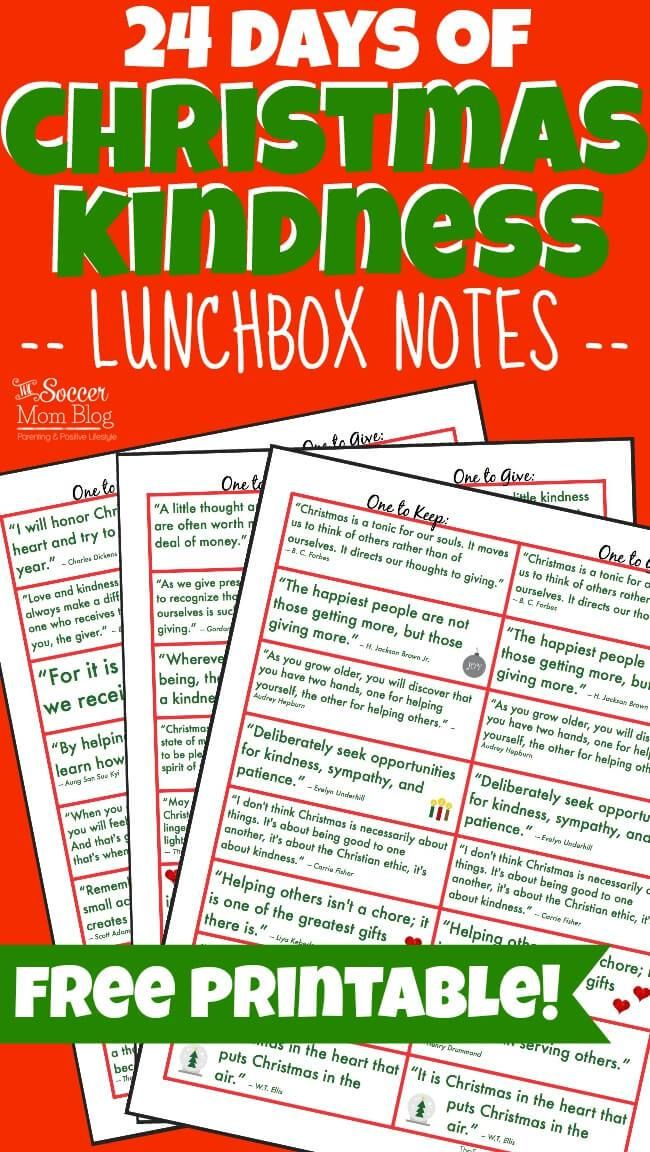 Christmas Kindness Lunchbox Notes Free Printable Of The Day