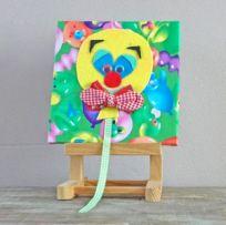 Schilderijtje van stof van clowntje