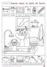 """A la découverte des mots en MS N°5 Un fichier de lecture destiné au élèves de MS, pour découvrir de nouveau mots et les utiliser. Partie 5 (mai - juin) """"Manon dans la salle de bain"""""""