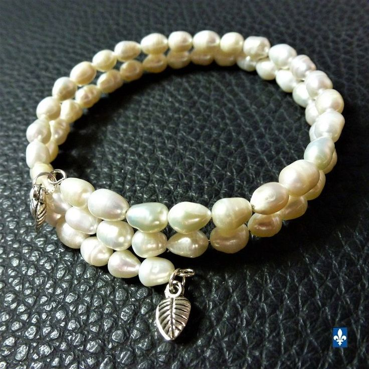 ♥ Charming Genuine Natural Ivory Baroque Pearls & Plated Silver Wrap Bracelet
