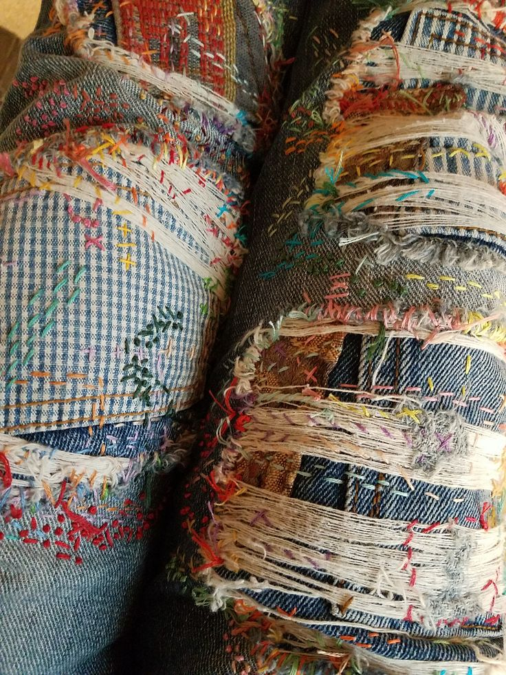 Stitch and sew embroidery, boro style, patchwork gypsy jeans.