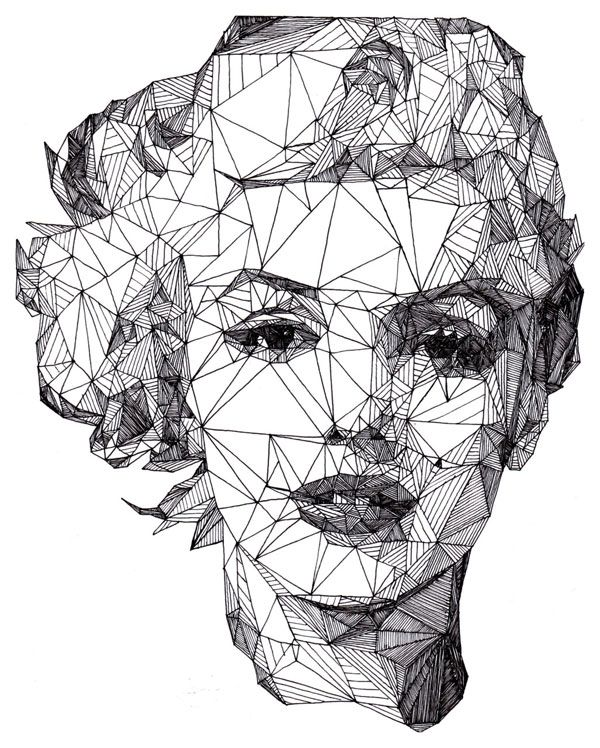 polygon: Josh Bryans, Marilyn Monroe, Triangles, Art, Illustration, Graphics Design, Portraits, Radios Telescope, Drawing