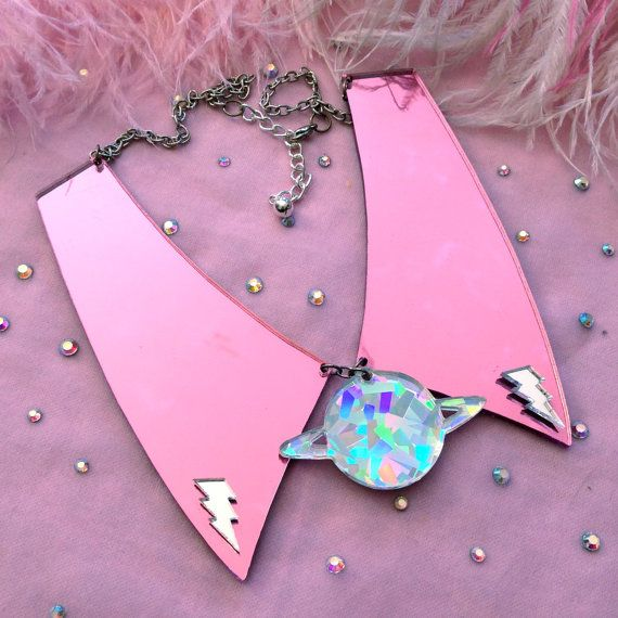 Pink Planet Acrylic Collar Necklace by imyourpresent on Etsy.....I truly love this collar
