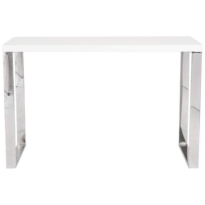Dillon White Lacquer Stainless Steel Desk - #6C754 | Lamps Plus