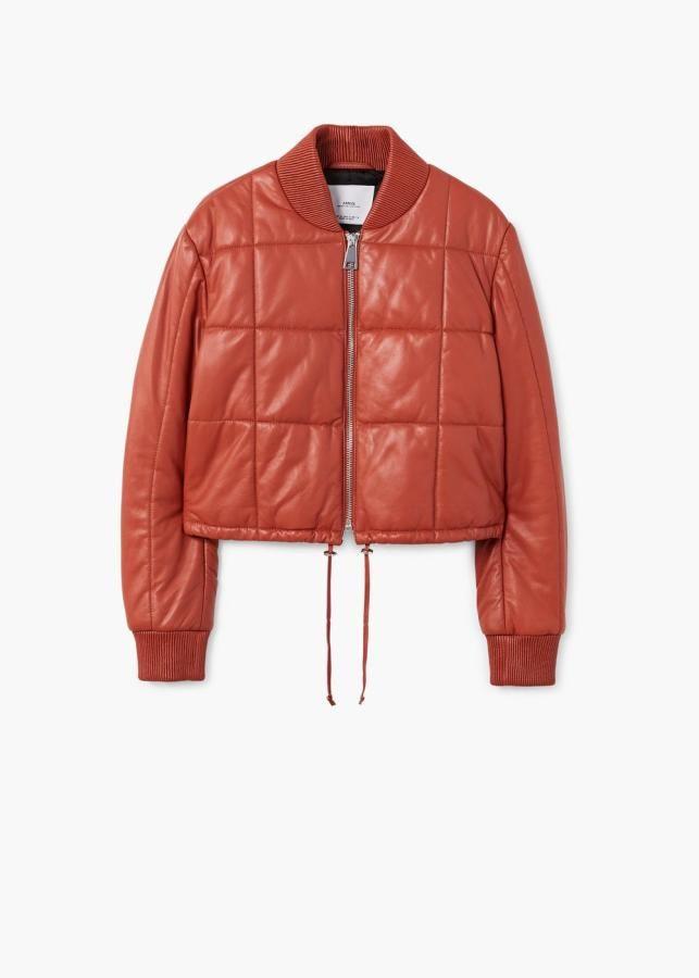 Mango chaqueta cuero roja